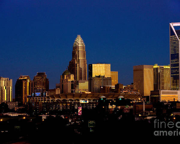 Charlotte Nc Photography Poster featuring the photograph Skyline At Dusk by Patrick Schneider