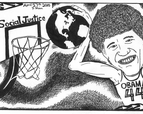 Obama Poster featuring the drawing Slam Dunk Social Justice by Yonatan Frimer Maze Artist