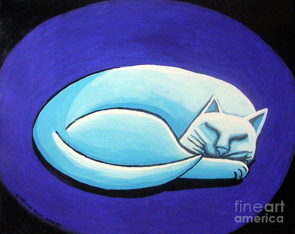 Sleeping Cat Poster featuring the painting Sleeping Cat by Genevieve Esson