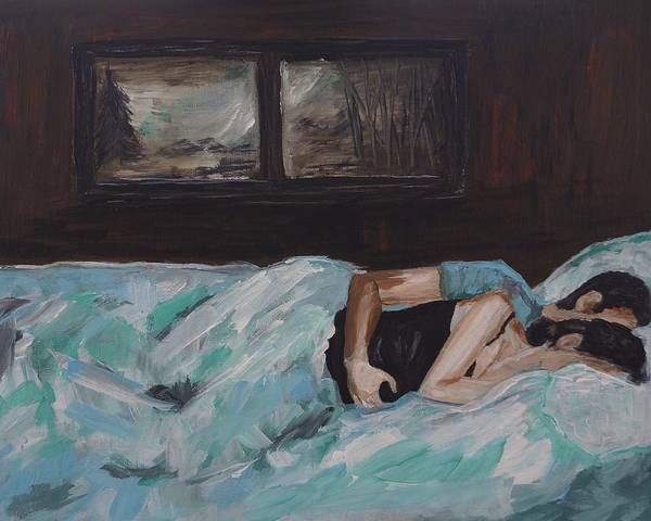 Couple Painting Poster featuring the painting Sleeping In by Leslie Allen
