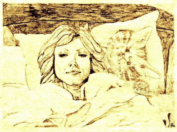 Pencil Poster featuring the drawing Sleepy Girl Friend On A Cat Pillow by Sheri Buchheit