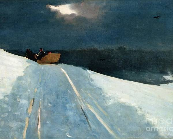 Winter Scene; Wintry; Snow; Snow-covered Landscape; Rural; Remote; Night; Darkness; Tracks; Path; Track; Moonlight; Sledge; Nocturne; Sleigh Ride Poster featuring the painting Sleigh Ride by Winslow Homer