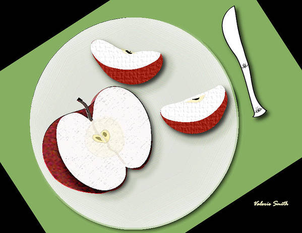 Apple Slices Poster featuring the digital art Sliced Apple by Valerie Smith