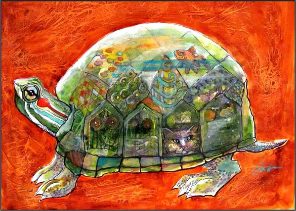 Turtle Poster featuring the mixed media Slowly But Surely. by Alan Gordon