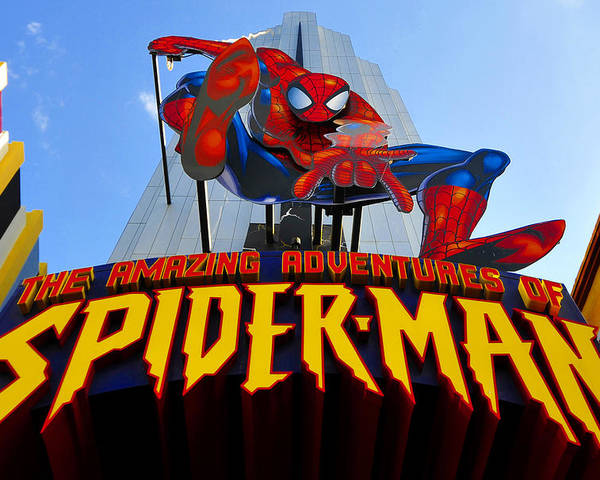 Spider Man Poster featuring the photograph Spider Man Ride Sign. by David Lee Thompson