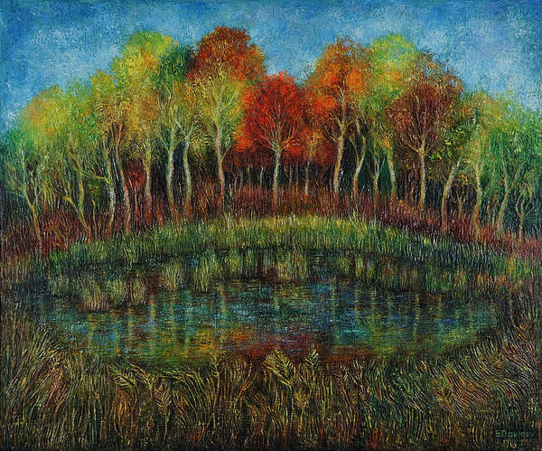 Landscape Poster featuring the painting Small Lake. by Evgenia Davidov