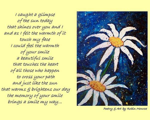 Poetry Poster featuring the mixed media Smile - Poetry In Art by Robin Monroe