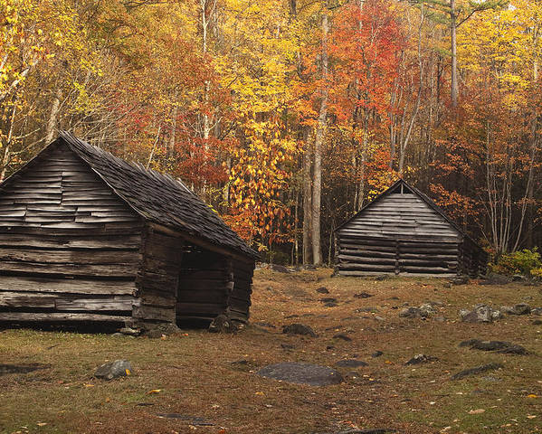 Smoky Poster featuring the photograph Smoky Mountain Cabins At Autumn by Andrew Soundarajan