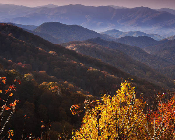 Oconaluftee Poster featuring the photograph Smoky Mountain Hillsides At Autumn by Andrew Soundarajan
