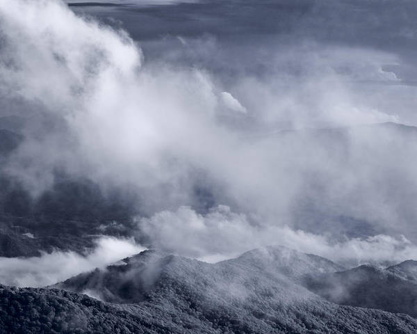 Smoky Poster featuring the photograph Smoky Mountain Vista In B And W by Steve Gadomski