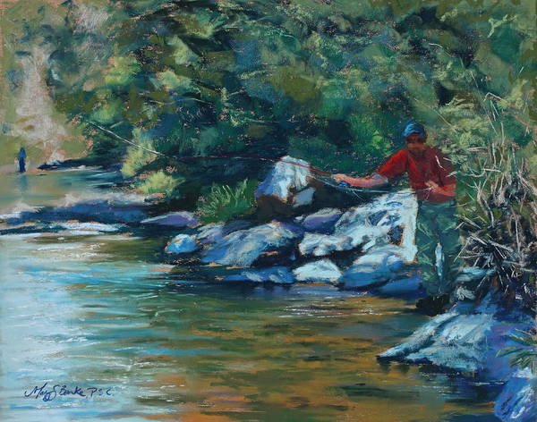 Flyfishing Poster featuring the painting Sneaking Up On A Rainbow by Mary Benke
