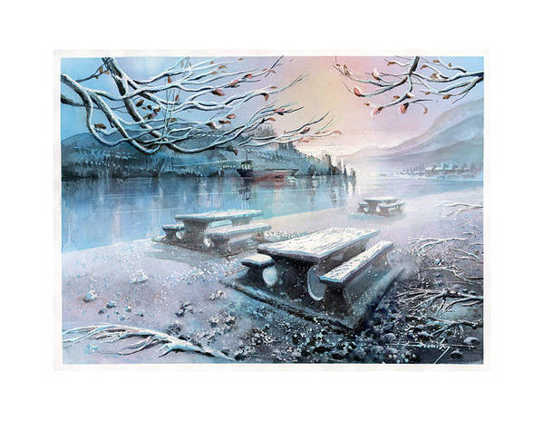 Landscape Poster featuring the painting Snow Blanket by Dumitru Barliga
