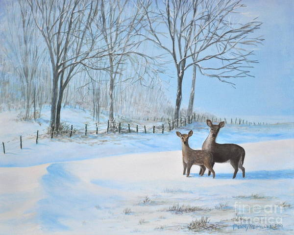 Deer Painting Poster featuring the painting Snow Deer by Penny Neimiller