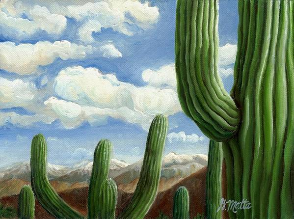 Landscape Poster featuring the painting Snow In Arizona by Gretchen Matta