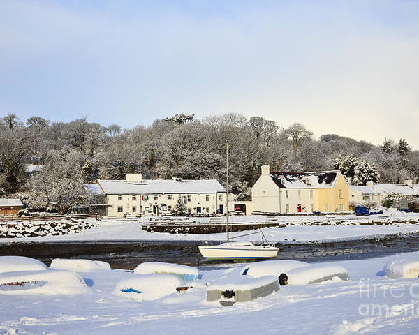 Britain Poster featuring the photograph Snow In Red Wharf Bay Wales by Pearl Bucknall