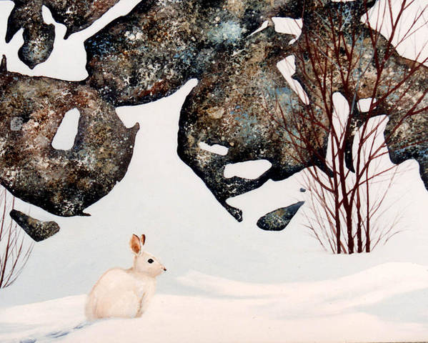 Wildlife Poster featuring the painting Snow Ledges Rabbit by Frank Wilson