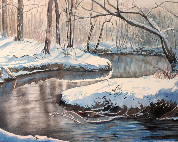 Snow Poster featuring the painting Snow On Riverbank by Debbie Homewood