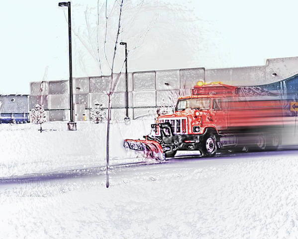 Winter Poster featuring the photograph Snow Plow In Business Park 1 by Steve Ohlsen