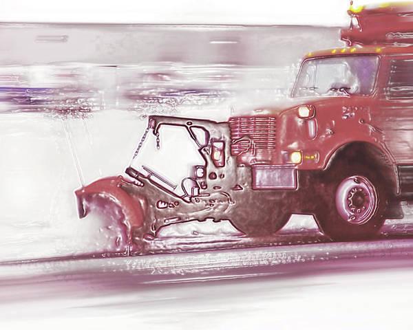 Winter Poster featuring the photograph Snow Plow In Business Park 2 by Steve Ohlsen