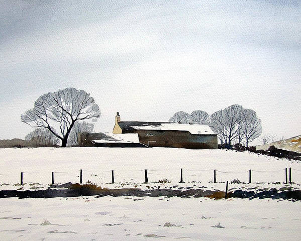 Winter Scene Poster featuring the painting Snow Scene Barkisland by Paul Dene Marlor