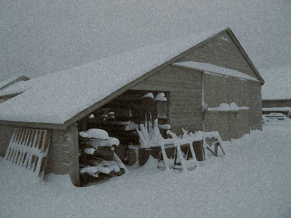 Snow Poster featuring the mixed media Snow Shed by Paul Barlo