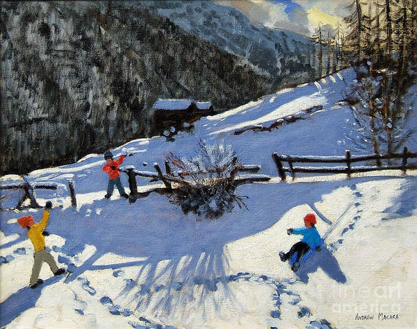 Zermatt Poster featuring the painting Snowballers by Andrew Macara