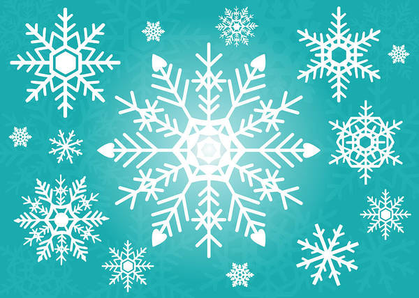 Snowflake Poster featuring the digital art Snowflakes Green And White by Kathleen Wong