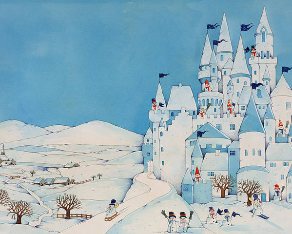 Snowman Castle Poster featuring the painting Snowman Castle by Christian Kaempf
