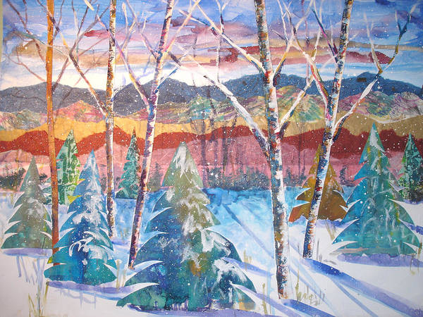 Landscape Poster featuring the mixed media snowy Afternoon by Joyce Kanyuk