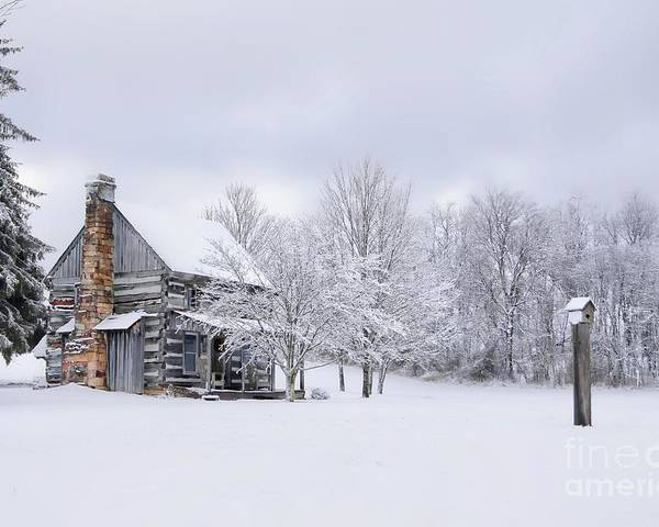Snow Poster featuring the photograph Snowy Cabin by Benanne Stiens