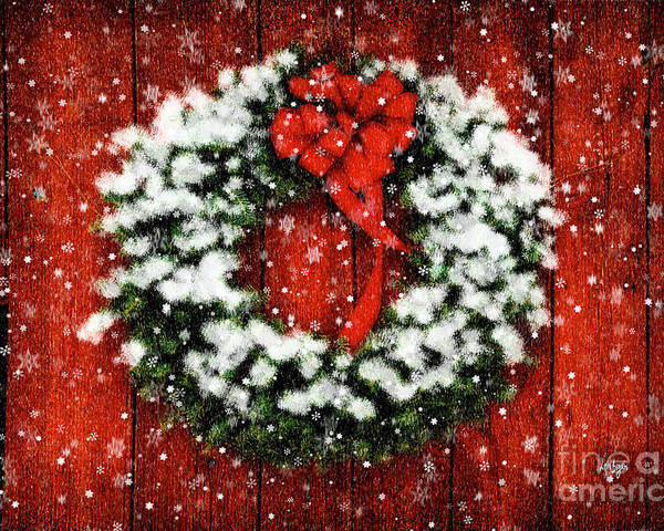 Christmas Poster featuring the photograph Snowy Christmas Wreath by Lois Bryan