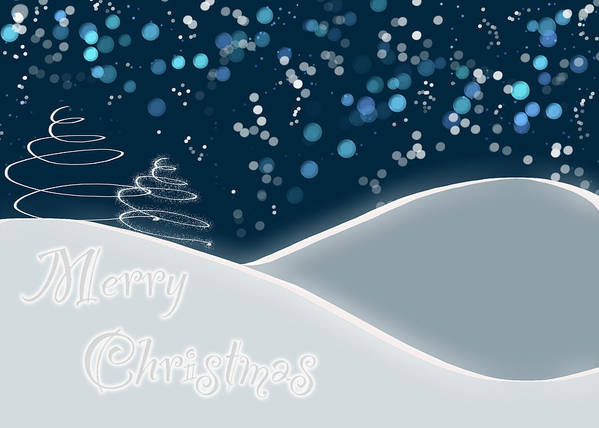 Snow Poster featuring the digital art Snowy Night Christmas Card by Lisa Knechtel