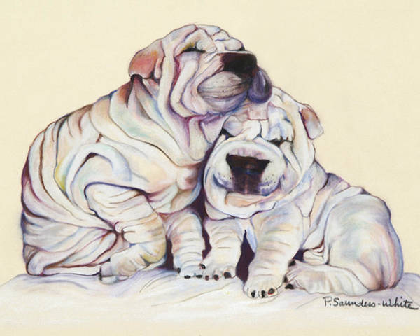 Dog Painting Poster featuring the pastel Snuggles by Pat Saunders-White
