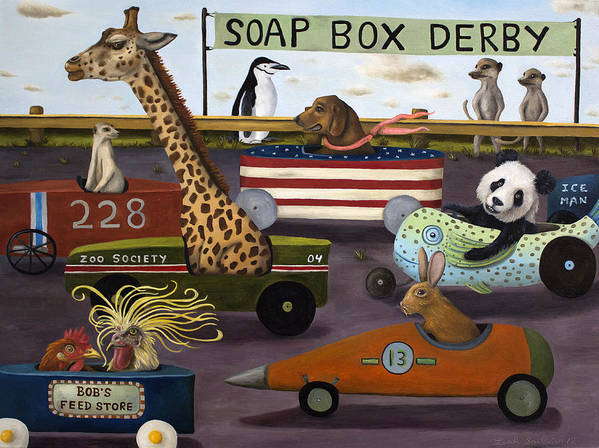 Soap Box Derby Poster featuring the painting Soap Box Derby by Leah Saulnier The Painting Maniac