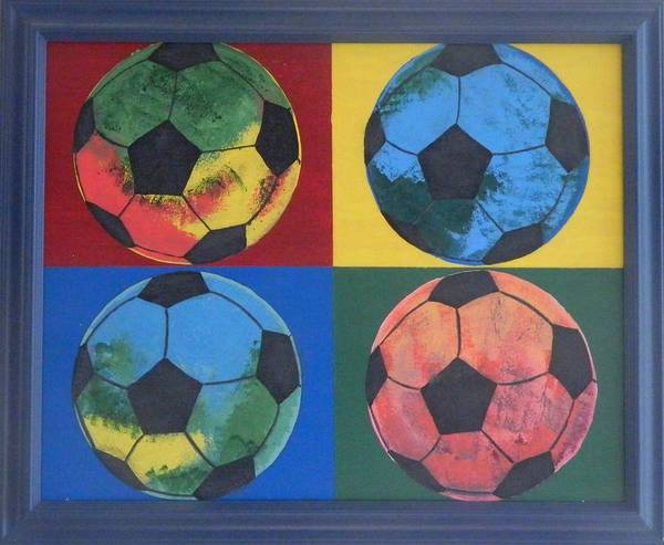 Painting Poster featuring the painting Soccer Balls by Ken Pursley