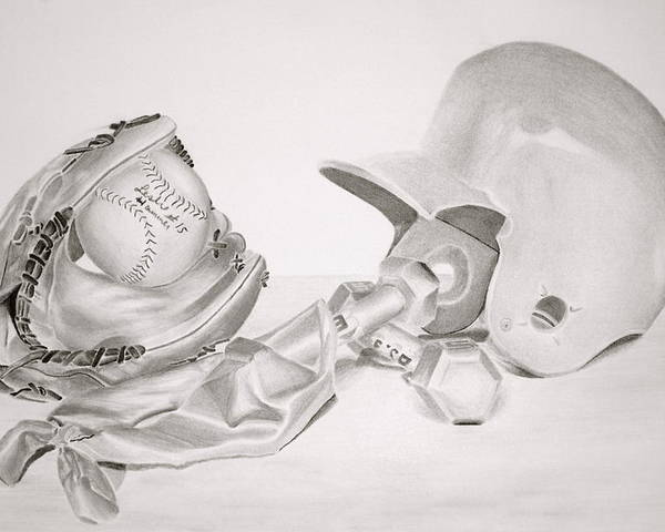 Helmet Poster featuring the drawing Softball by Leslie Ann Hammer