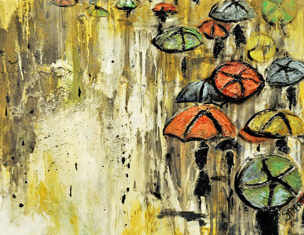 Umbrella Poster featuring the painting Sold Under The Weather by Amanda Sanford