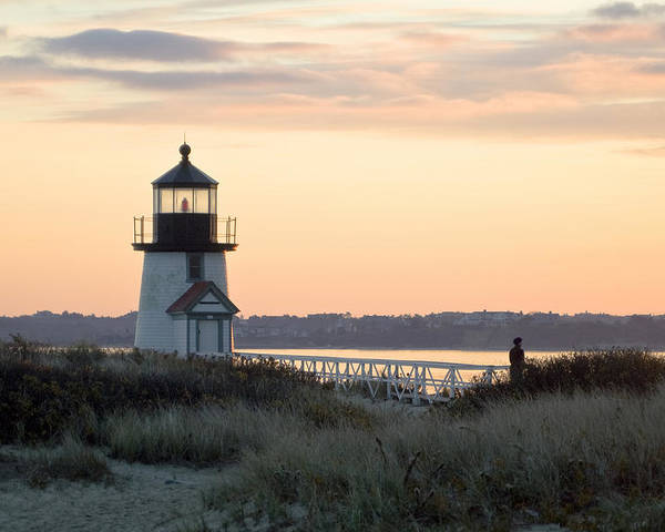 Nantucket Poster featuring the photograph Solitude At Brant Point Light Nantucket by Henry Krauzyk