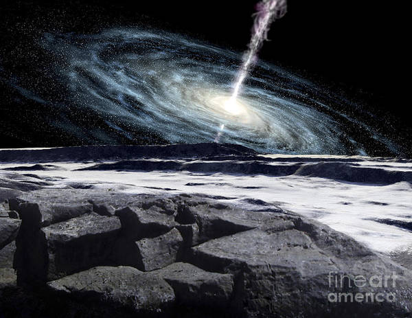Color Image Poster featuring the digital art Some Galaxies Have Powerfully Active by Ron Miller
