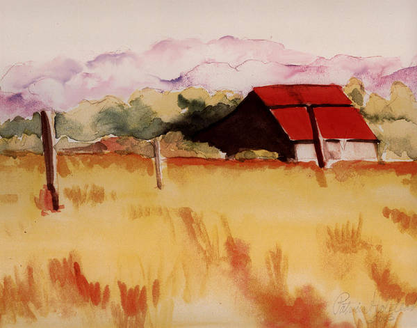 Watercolor Landscape Poster featuring the painting Sonoma Wheatfield by Patricia Halstead