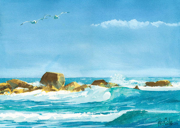 Waves Poster featuring the painting Sound of Surf by Ray Cole