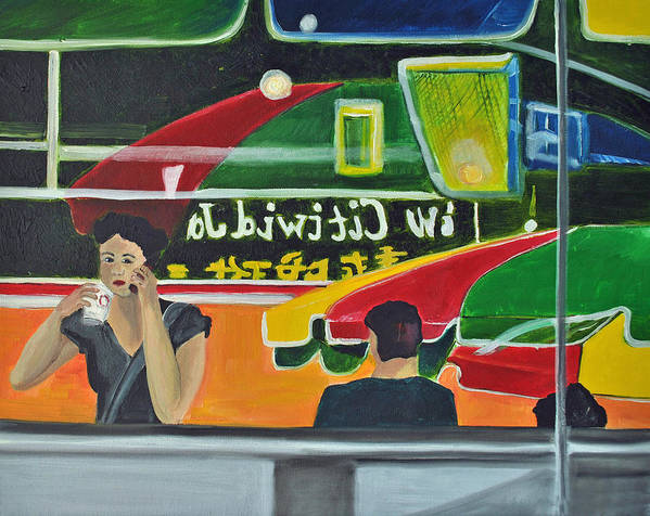 City Scenes Poster featuring the painting Soup For One by Patricia Arroyo