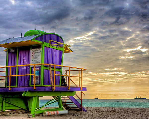 Lifeguard Stand Poster featuring the photograph South Beach Dawn by William Wetmore