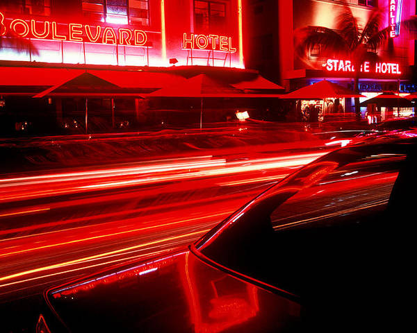 Neon Poster featuring the photograph South Beach Red by Brad Rickerby
