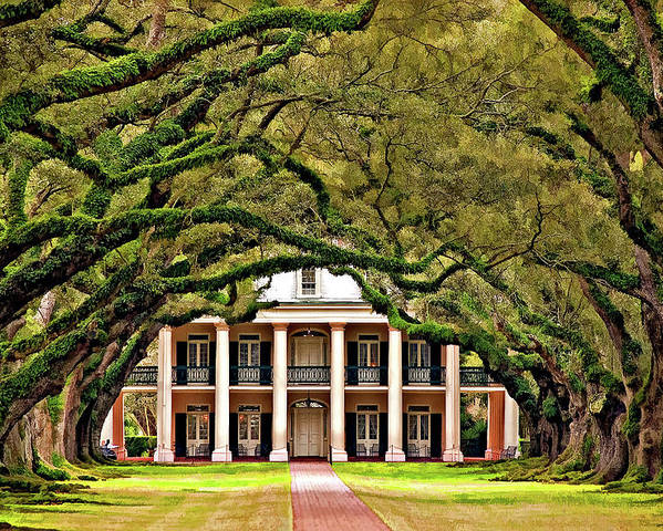 Oak Alley Plantation Poster featuring the photograph Southern Class Painted by Steve Harrington
