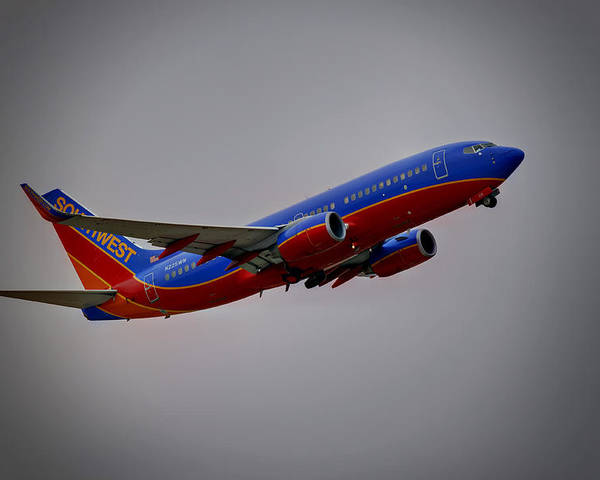 737 Poster featuring the photograph Southwest Departure by Ricky Barnard