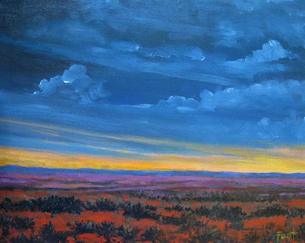 Sunset Poster featuring the painting Southwestern Sunset by Gene Foust