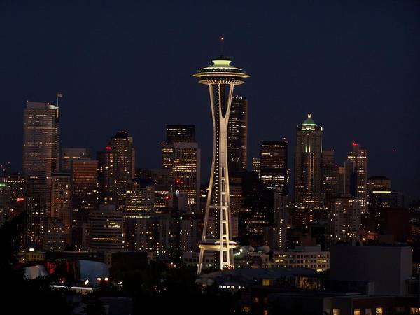 Night Cityscape Poster featuring the photograph Space Needle Night by Gene Ritchhart
