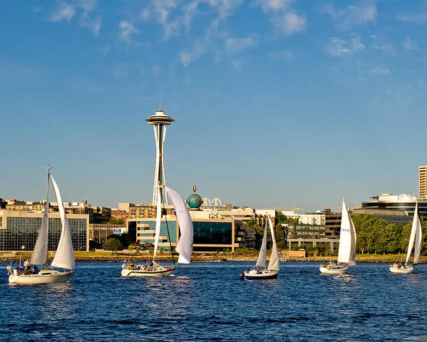 Seattle Poster featuring the photograph Space Needle Sailboats by Tom Dowd