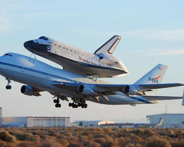 Space Poster featuring the photograph Space Shuttle Atalantis Departs Edwards Afb July 1 2007 by Brian Lockett